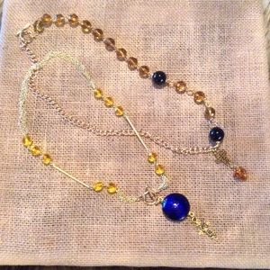 Jewelry - Glass Beaded Sun & Moon Cross Chain Necklace's